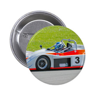 Silver and red single seater racing car pin