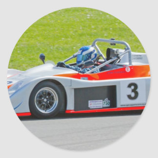 Silver and red single seater racing car classic round sticker