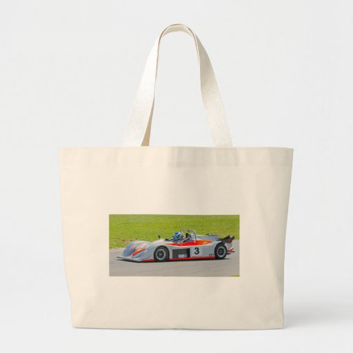 Silver and red single seater racing car jumbo tote bag