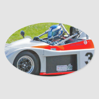 Silver and red single seater racing car oval sticker