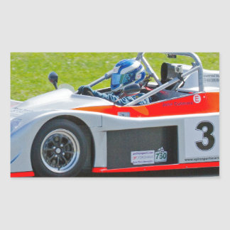 Silver and red single seater racing car rectangular sticker