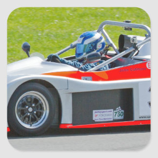Silver and red single seater racing car square sticker