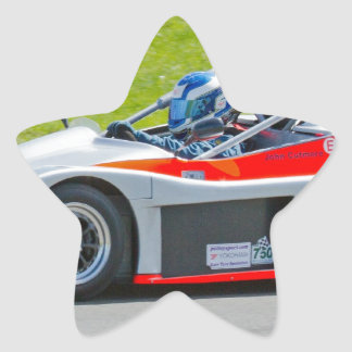 Silver and red single seater racing car star sticker