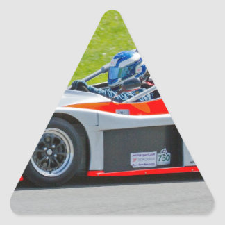 Silver and red single seater racing car triangle sticker