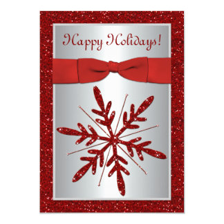 Silver and Red Snowflake Holiday Party Invitation