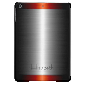Silver and Red Stainless Steel Metal iPad Air Cases