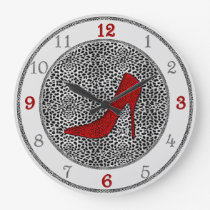 Silver and Red with Cheetah Animal Print Large Clock