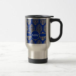 Silver  and royal blue damask 15 oz stainless steel travel mug