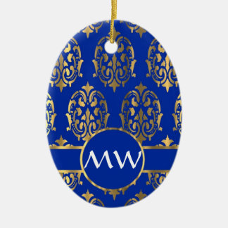 Silver and royal blue damask monogram ceramic ornament