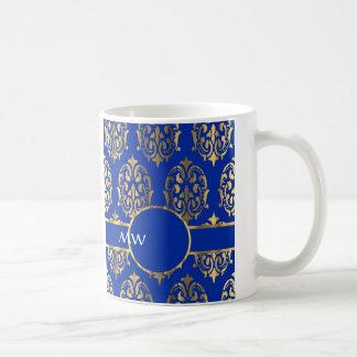 Silver and royal blue damask monogram basic white mug