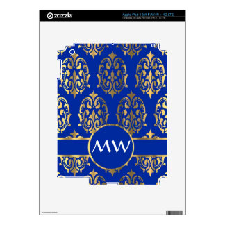 Silver and royal blue damask monogram decals for iPad 3
