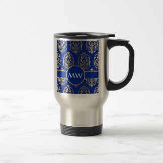 Silver  and royal blue damask travel mug