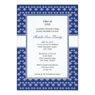 Silver and Royal Blue Fleur de Lis Graduation 5x7 Paper Invitation Card