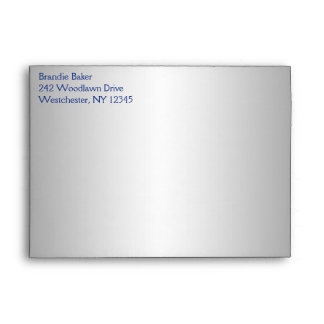 Silver and Royal Blue Floral Envelope fit 5x7 Size