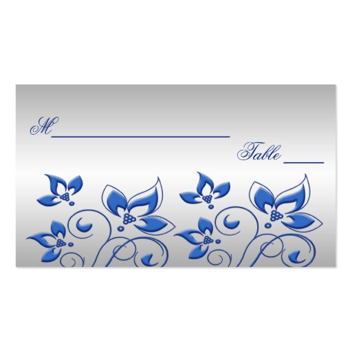 Silver and Royal Blue Floral Placecards Double-Sided Standard Business Cards (Pack Of 100)