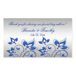 Silver and Royal Blue Floral Wedding Favor Tag Double-Sided Standard Business Cards (Pack Of 100)