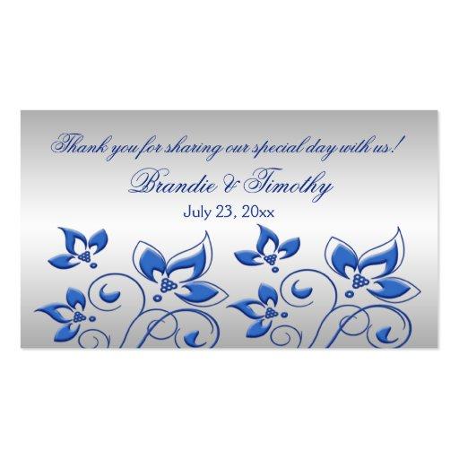 Royal blue wedding favor tags : Silver and royal blue floral wedding favor tag business
