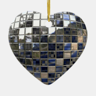 Silver and some Blue Disco Mirrors Heart Ornament