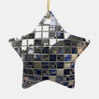Silver and some Blue Disco Star Mirror Ornament