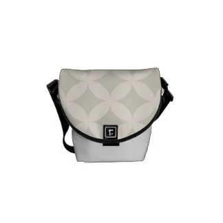 Silver and Tan Geocircle Design Courier Bag