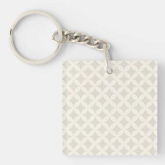 Silver and Tan Geocircle Design Keychain