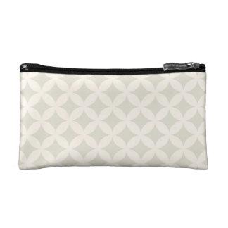 Silver and Tan Geocircle Design Makeup Bag