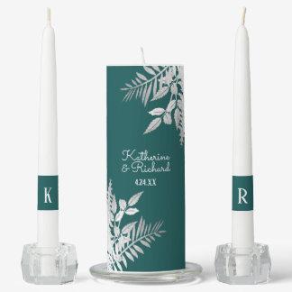 Silver and Teal Botanical Wedding Unity Candle Set