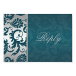 Silver and Teal Damask II Reply Card Invites