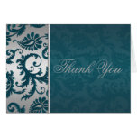 Silver and Teal Damask II Thank You Card Greeting Card