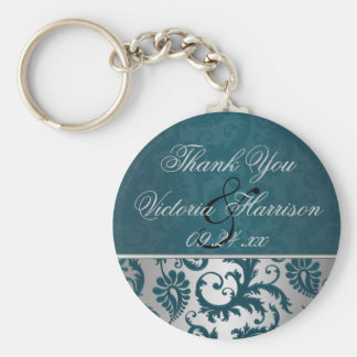 Silver and Teal Damask II Wedding Favor Keychain