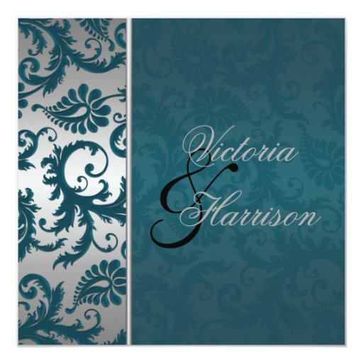 Silver And Teal Damask II Wedding Invitation