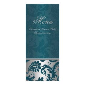 Silver and Teal Damask II Wedding Menu Card Custom Invitations