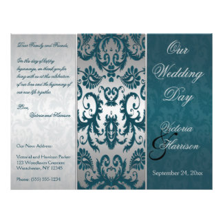 Silver and Teal Damask II Wedding Program
