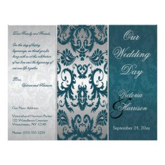 Silver and Teal Damask II Wedding Program