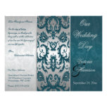 Silver and Teal Damask II Wedding Program Full Color Flyer