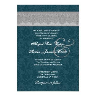Silver and Teal Damask Ribbon Monogram Wedding 3 Card