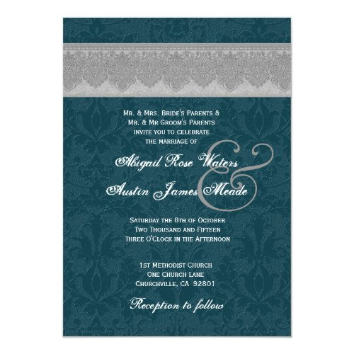 Silver and Teal Damask Monogram Wedding Invite