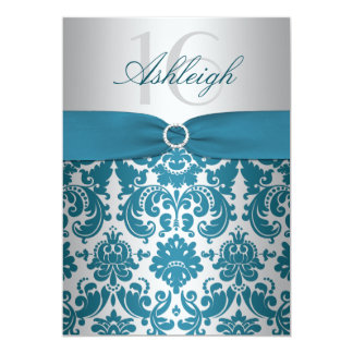 Silver and Teal Damask Sweet Sixteen Invitation