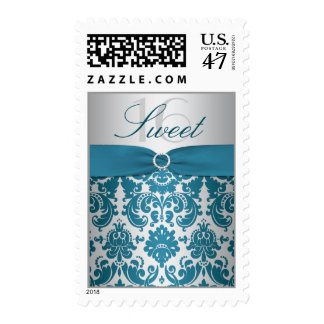 Silver and Teal Damask Sweet Sixteen Postage