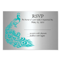 Silver and Teal Peacock RSVP Invitations