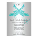 Silver and Teal Peacock Wedding Invitations