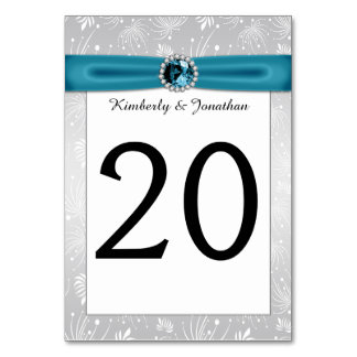 Silver and Teal Ribbon Gemstones Table Numbers Card