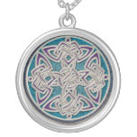 Silver and Turquoise Celtic Knot Necklace