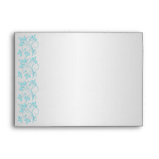 "Silver and Turquoise Floral Envelope for 5""x7"""