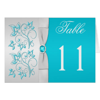 Silver and Turquoise Floral Table Number Card Greeting Card