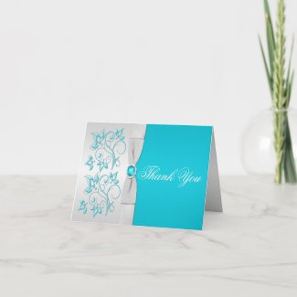 Silver and Turquoise Floral Thank You Card card