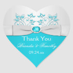 Silver and Turquoise Floral Wedding Favor Sticker