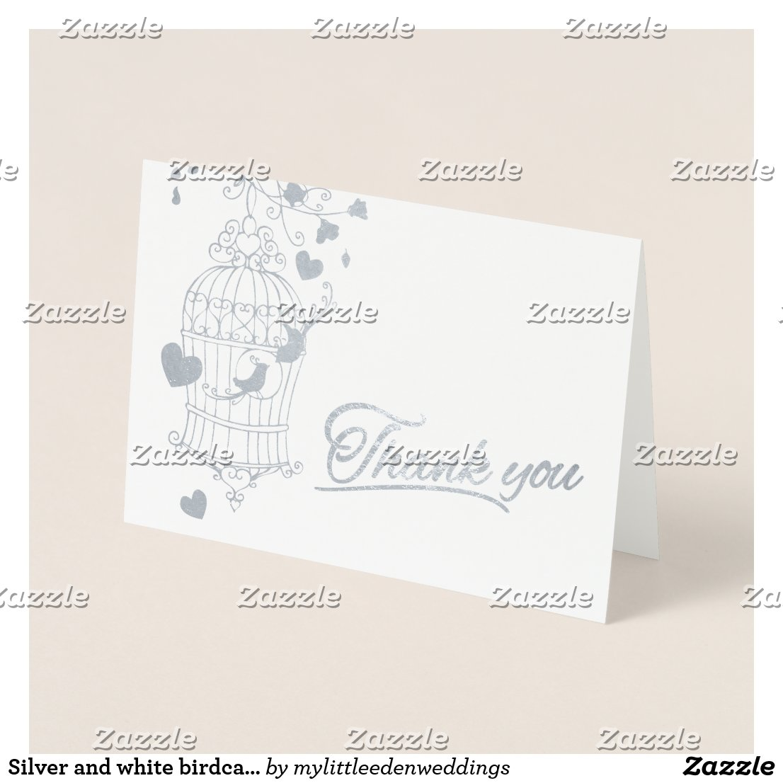 Silver and white birdcage wedding thank you card