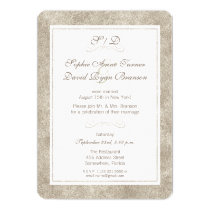 Silver and White Border Wedding Evening Reception Card