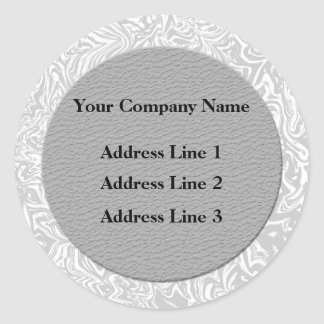 Silver  and White Business Address Lables Classic Round Sticker